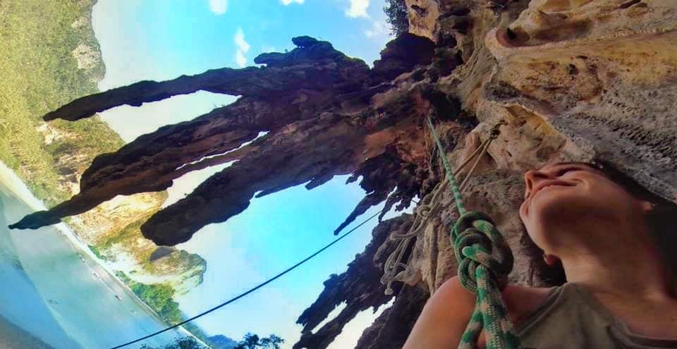 rock climbing on Tonsai Beach is something you can do often when living in Thailand
