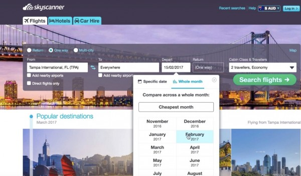 screenshot to select cheapest months in a guide for Cheap flights to anywhere