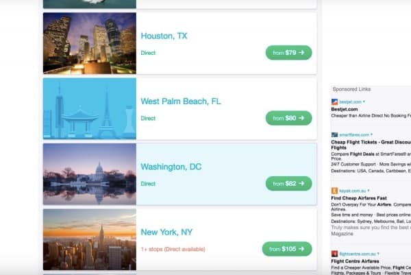 another screenshot to select destinations in a guide for Cheap flights to anywhere