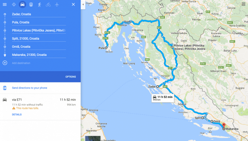 The map of your one-week Croatia itinerary road trip.