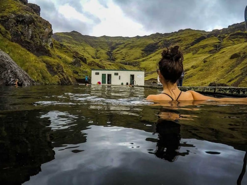 Seljavallalaug Swimming Pool in iceland in september