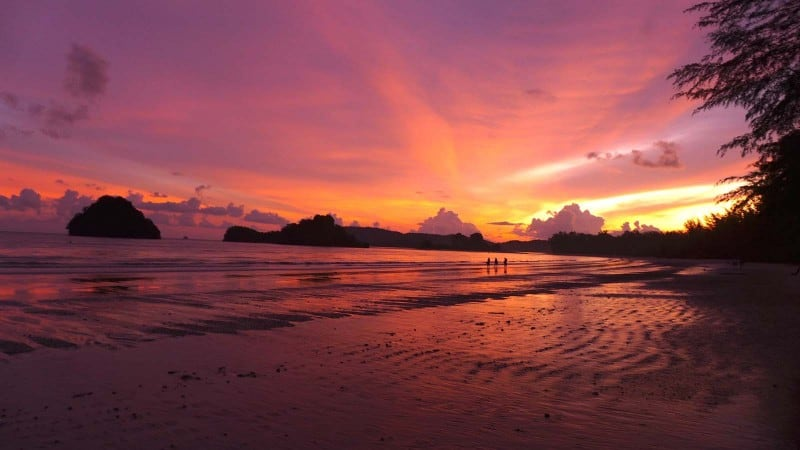 catching a sunset while chilling on ao nang in krabi, Thailand