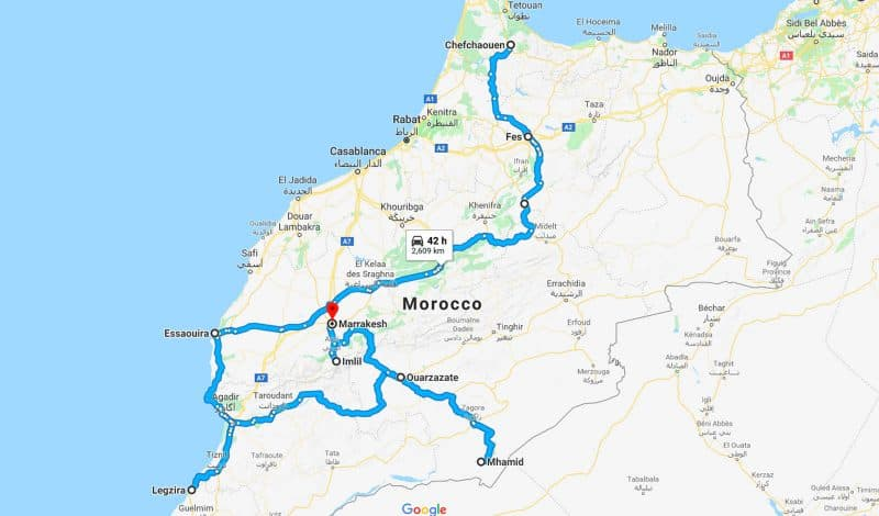 Morocco route on a map