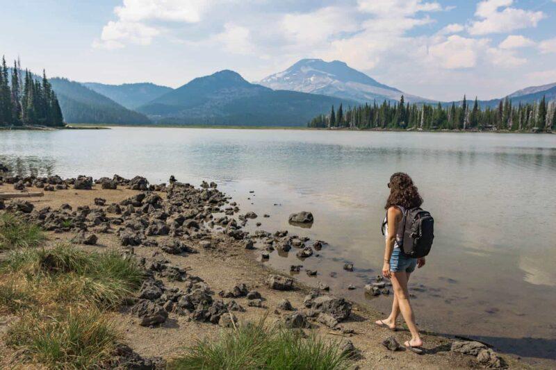 Walking along Sparks Lake
